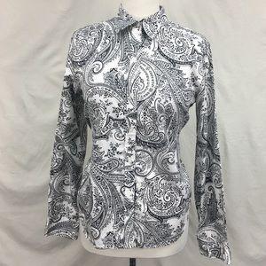 Lauren Ralph Lauren Black White Button Down Shirt